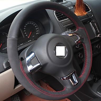 xuji genuine leather suede steering wheel cover for volkswagen golf 6 mk6 vw polo sagitar bora. Black Bedroom Furniture Sets. Home Design Ideas