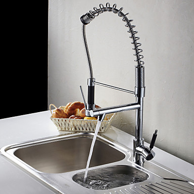 pull out spout double outlet brass kitchen faucet mixer
