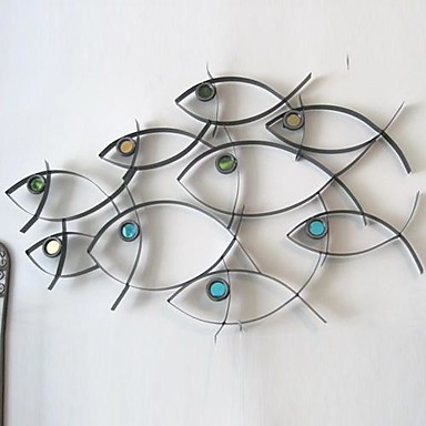 Metal wall art wall decor school of fish wall decor for Decor mural metal