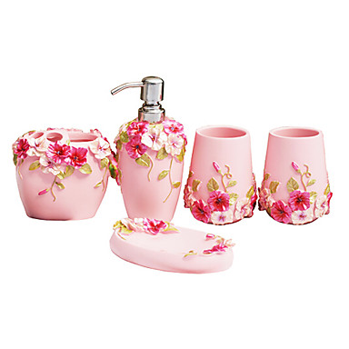 Bath ensemble 5 piece country style pink material abs for Pink toilet accessories