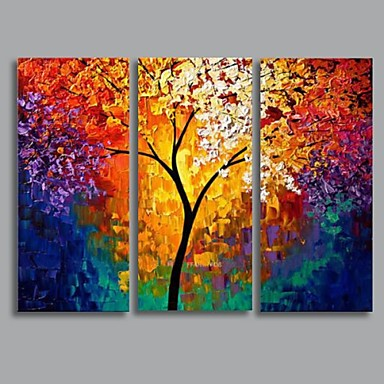 Pintada a mano paisaje tres paneles lienzos pintura al - Pinturas paredes modernas ...