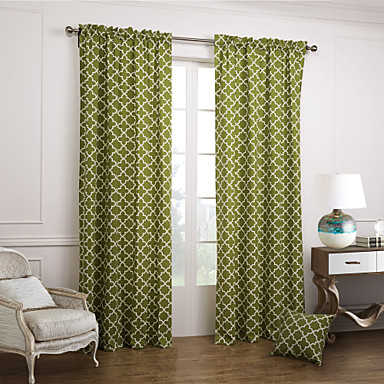 modern two panels geometric green bedroom cotton panel curtains drapes