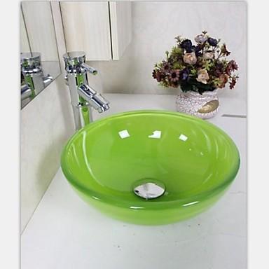 autique mini gr n runde geh rtetes waschbecken aus glas mit wasserhahn einbauring und wasser. Black Bedroom Furniture Sets. Home Design Ideas