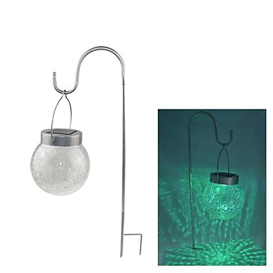 2 LED Color Changing Hanging Cracked Glass Ball Outdoor