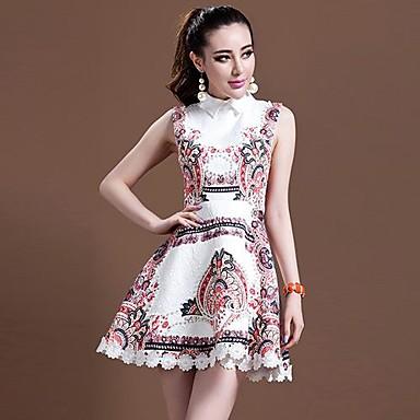 Aisni® women's new summer vintage cowl sleeveless printing dress