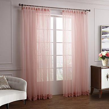 Two Panels Curtain Modern Solid Bedroom Polyester Material Sheer Curtains Shades Home