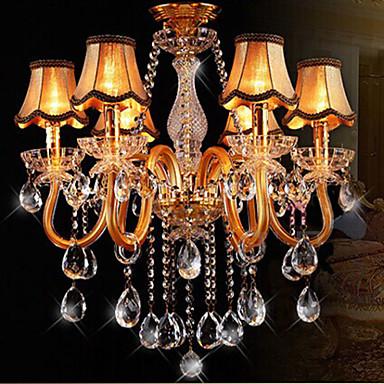 Moderna l mpara de ara a de cristal en color oro con - Lamparas arana modernas ...