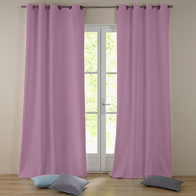 One Panel Grommet Top Modern Minimalist Light Pink Solid Blackout Curtain Usd