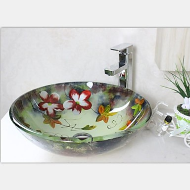 Hand Painted Sinks : Hand Painted Cherry Round Tempered Glass Vessel Sink With Faucet Set ...