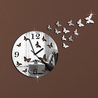 Wall clock stickers wall decals modern design butterflies for Sticker miroir rouleau