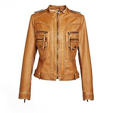 Short brown leather jacket
