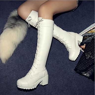 Women's Shoes Round Toe Chunky Heel Knee High Boots More Colors