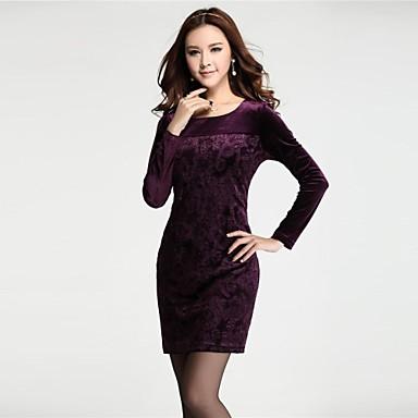 automne de l 39 hiver des femmes rondes robe violette manches longues de 2015. Black Bedroom Furniture Sets. Home Design Ideas