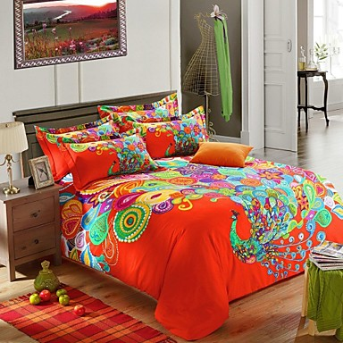 ensembles housse de couette h c en coton vert orange multicolore usd. Black Bedroom Furniture Sets. Home Design Ideas