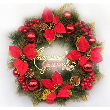 Rojas puertas corona de navidad decorado decoraciones de - Decoraciones de navidad ...