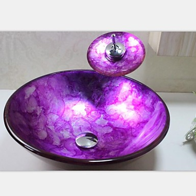 Dark Purple Orchids Tempered Glass Vessel Sink With Chrome