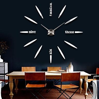 39W DIY 3D Big Digital Mirror Sticker Wall Clock Modern