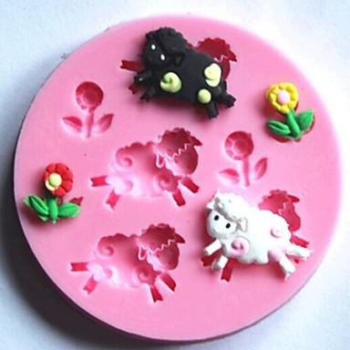 Schapen en bloemen fondant taart siliconen mal taart for Taart en decoratie