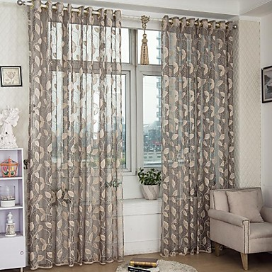 Country Curtains® Sheer Hollow Out Jacquard Leaf Sheer Curtains ...