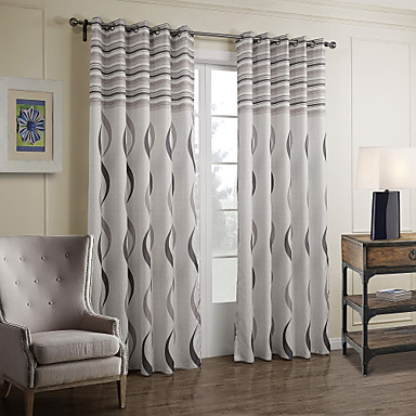 Two Panels Curtain Baroque Bedroom Polyester Material ...