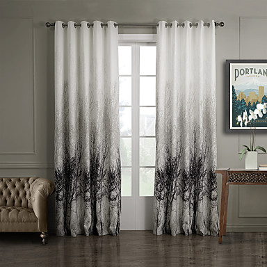 two panels curtain country bedroom polyester material. Black Bedroom Furniture Sets. Home Design Ideas