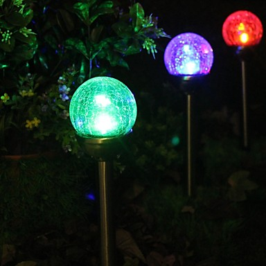 Set Of 2 Color Changing Solar Crackle Glass Ball Stake