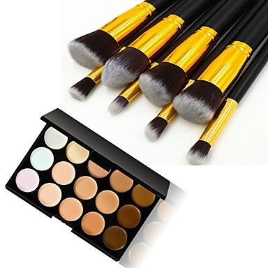 8pcs gold tube black handle cosmetic makeup brush set and