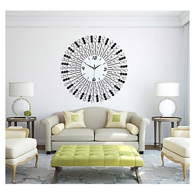 Grande taille moderne fer rond horloge murale usd for Horloge murale grande taille
