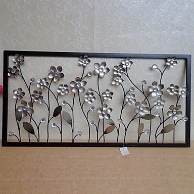 Silver Metal Wall Decor e-home® metal wall art wall decor, silver flower wall decor