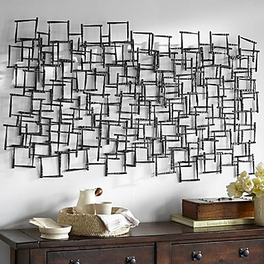 Square Metal Wall Art e-home® metal wall art wall decor, square pattern stitching wall