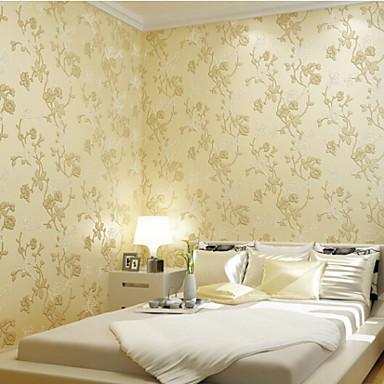 carta da parati classica floreale mangnolia vendite calde fiore progetta parete di colore beige ...