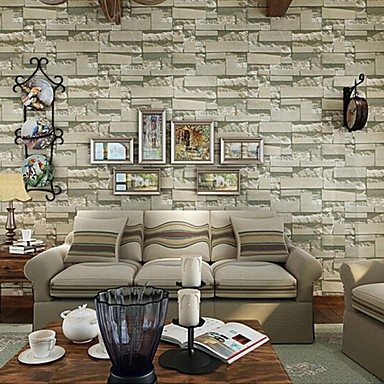 Contemporary brick wallpaper geometric wall covering pvc for Papel decorativo para pared