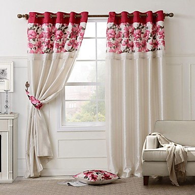Two panels country floral lined curtain 1 pillow 2 - Abrazaderas para cortinas ...