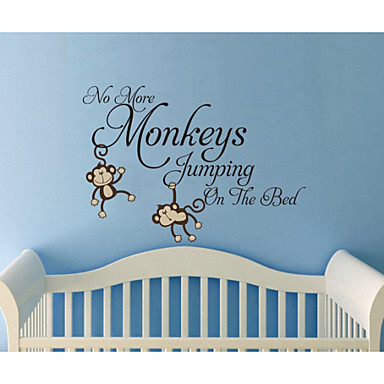 wall stickers no more monkeys jumping on the bed kids wall. Black Bedroom Furniture Sets. Home Design Ideas