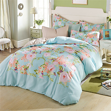 queen size comforter set light blue floral duvet covers. Black Bedroom Furniture Sets. Home Design Ideas