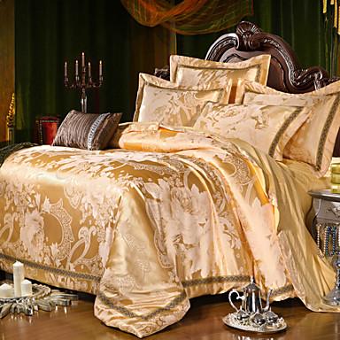 Jacquard de lujo rey algod n de seda queen size 4pcs juego - Housse couette luxe ...