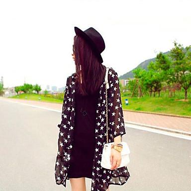 Women's Beach Print Star Translucent ¾ Sleeve Long Jacket (Chiffon)