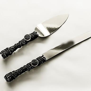 Serving Sets Wedding Cake Knife Accessories Handle Cake Knife And Server Set With LaceBlack