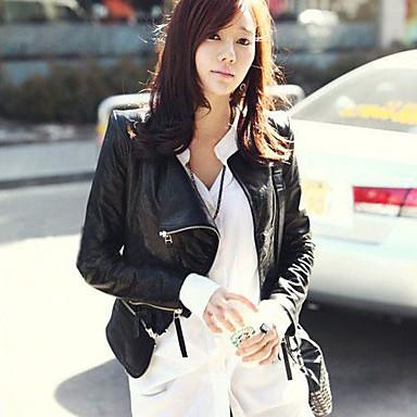 Women's Motorcycle Clothing PU Leather Jacket #03831331