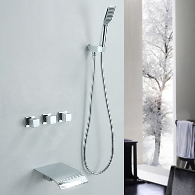 tub and shower waterfall handshower included with ceramic valve three handles