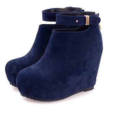Chaussure A Talon Compensé Bleu