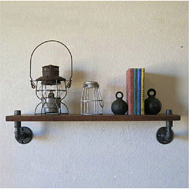 Industrial Loft Style Wrought Iron Wall Shelf Bathroom Shelf Vintage Wood Wall Water Pipe Rack