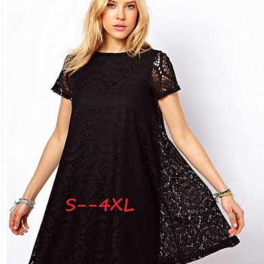 Women\'s Lace Blue/Red/White/Black/Green Plus Size Dresses , Casual ...