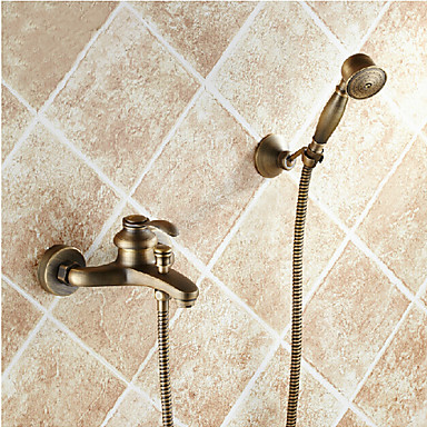 Bathroom wall mounted antique brass bathtub faucet with hand shower set 4301839 2016 Antique brass faucet bathroom