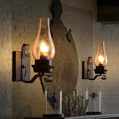 Rustic Industrial Wall Sconces : Retro Rustic Nordic Glass Wall Lamp Bedroom Bedside Wall Sconce Vintage Industrial Wall Light ...