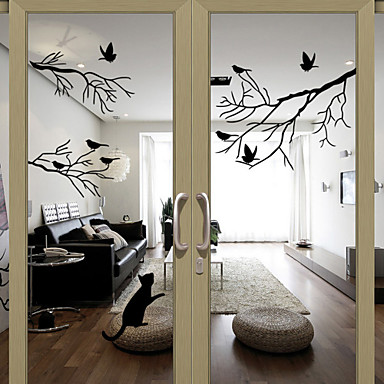 Window stickers window decals style birds on the tree pvc door stickers 42362 - Stickers vitres leroy merlin ...