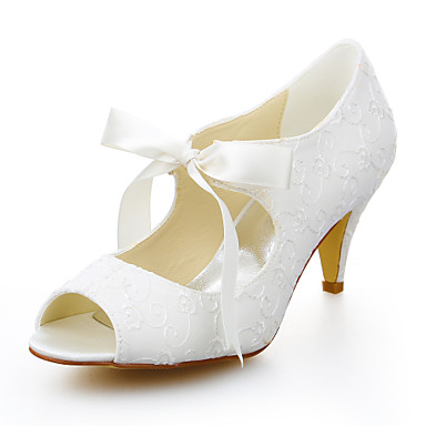 Women's Summer Peep Toe Stretch Satin Wedding / Dress Cone ...