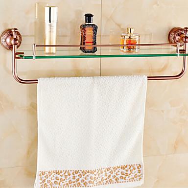 Bathroom Shelves Rose Gold Wall Mounted Glass Shelf