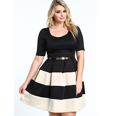 Women's Stripe Cute Half Sleeve Casual Party Prom Cocktail Dress ...