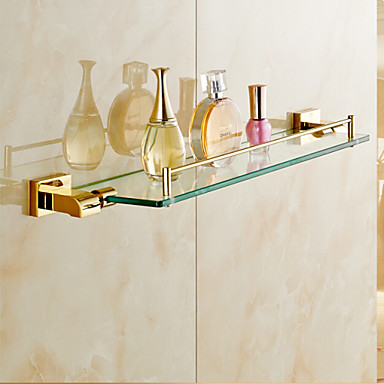 Bathroom shelves gold wall mounted glass shelf bathroom for Gold glass bathroom accessories